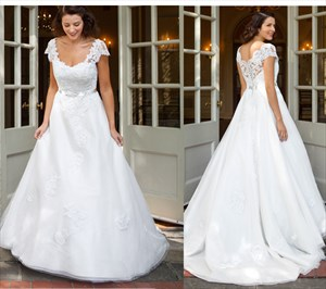White Lace Embellished Ball Gown Wedding Dress With Cap Sleeves
