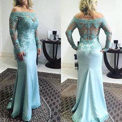 Light Blue Lace Applique Off The Shoulder Long Sleeve Prom Dress
