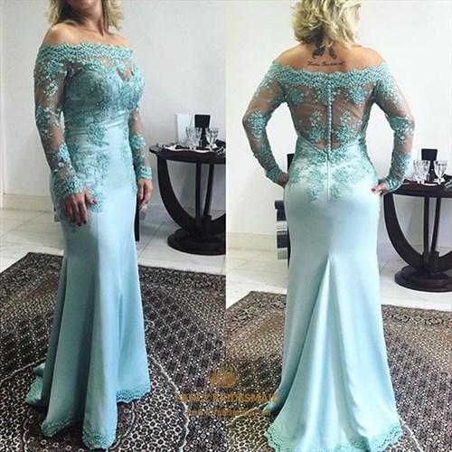 Light Blue Lace Applique Off The Shoulder Long Sleeve Prom Dress