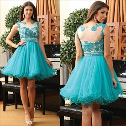 Teal Illusion Lace Embellished Beaded Waist Short Formal Dress