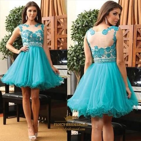 Teal Illusion Lace Embellished Beaded Waist Short Formal Dress