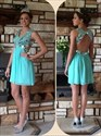 Turquoise V-Neck Backless Empire Waist Beaded Top Cocktail Dress