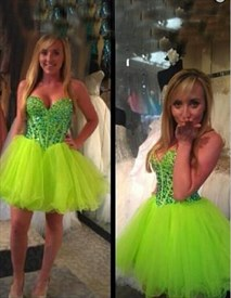 Light Green Strapless Sweetheart Beaded Bodice Short Party Dress