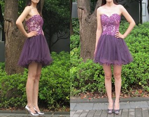 Grape Strapless Lace Embellished Top Short Bridesmaid Dress