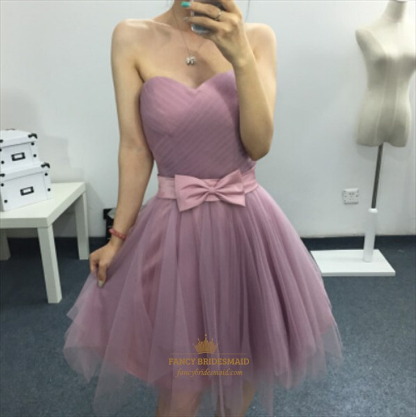 3877ef747032 Pink Strapless Sweetheart Short Tulle Bridesmaid Dresses With Bow ...