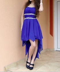 Royal Blue Strapless Beaded Waist High Low Chiffon Bridesmaid Dress
