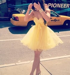Yellow Strapless Beaded Empire Waist Short Bridesmaid Dress With Bow