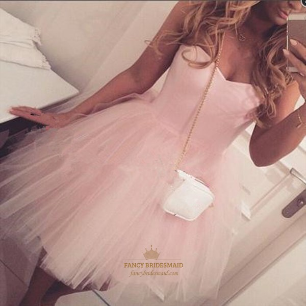 Pink Simple Strapless Ruched Short Tulle Bridesmaid Dress