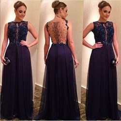 Navy Blue Beaded Lace Embellished Sheer Back A Line Long Evening Dress