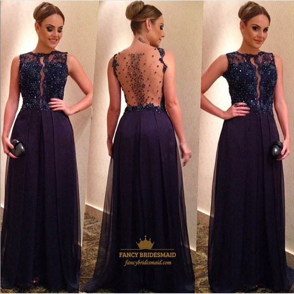 Navy Blue Beaded Lace Embellished Sheer Back A Line Long Evening Dress