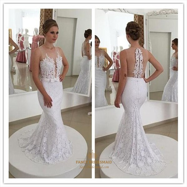 White Sheer Back Lace Applique Mermaid Long Wedding Dress