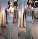 Ivory V Neck Sheer Back Lace Mermaid Full Length Wedding Dress