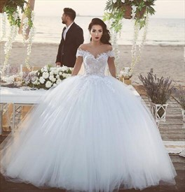 White Off The Shoulder Lace Bodice Ball Gown Wedding Dress