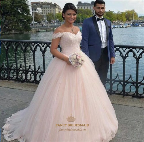 Blush Pink Off The Shoulder Applique Long Ball Gown Wedding Dress