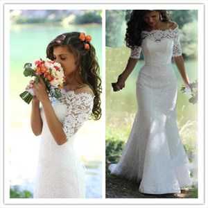 White Off The Shoulder Half Sleeve Lace Mermaid Wedding Dress