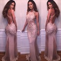 Blush Pink Sheer Lace Applique Sheath Embellished Long Formal Dress