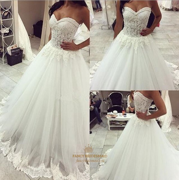 White Strapless Lace Bodice Long Ball Gown Wedding Dress