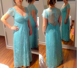 Baby Blue V Neck Cap Sleeve Long Lace Mother Of The Bride Dress