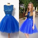Royal Blue Sequin Embellished Top Knee Length Tulle Homecoming Dress