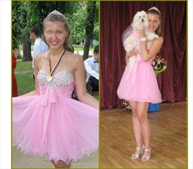 Pink Short Strapless Beaded Ruched Empire Waist Party Dress