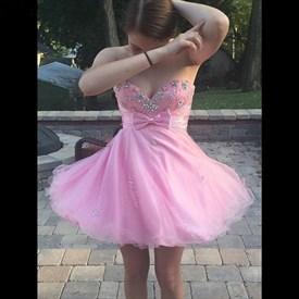 Pink Strapless Short Sleeveless Jewel Beaded Top Homecoming Dress