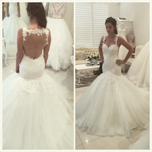 White Sheer Lace Applique Open Back Tulle Mermaid Wedding Dress