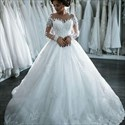 White Sheer Lace Embellished Long Sleeve Ball Gown Wedding Dress