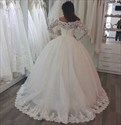 Ivory Lace Embellished Long Sleeve Ball Gown Wedding Dress