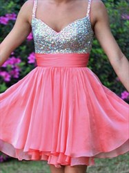 Coral Sweetheart Beaded Top Short Cocktail Dress With Straps