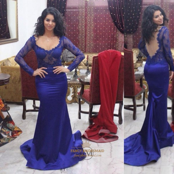 Royal Blue V Neck Sheer Lace Long Sleeve Open Back Mermaid Prom Dress