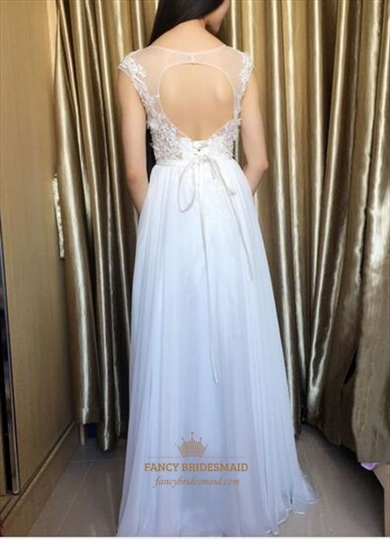 White Embellished Long Chiffon Wedding Dress With Keyhole Back