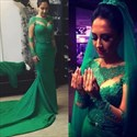 Emerald Green Sheer Long Sleeve Embellished Wedding Dress With Train