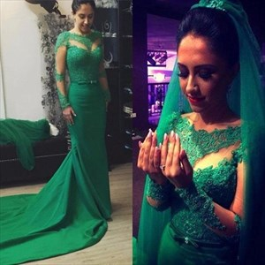Emerald Green Sheer Long Sleeve Embellished Wedding Dress With Train