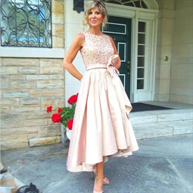 Blush Pink Beaded Top Short High Low Bridesmaid Dress With Bow