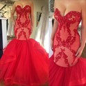 Red Strapless Lace Applique Top Dropped Waist Mermaid Evening Dress