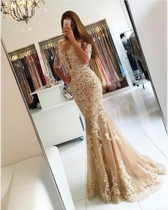 Peach Sheer Lace Applique Half Sleeve Full Length Formal Dress
