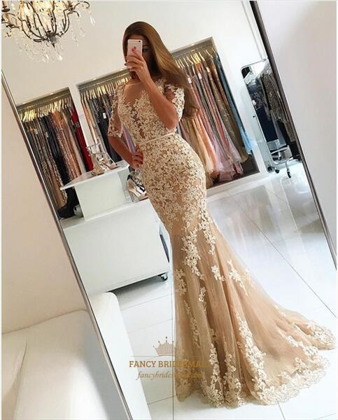 Peach Sheer Lace Applique Half Sleeve Full Length Formal Dress