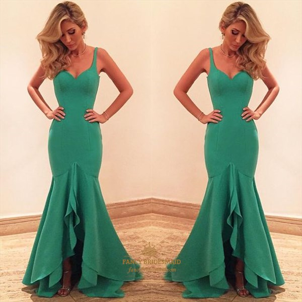 Teal Sweetheart Mermaid Floor-Length Evening Dress With Straps
