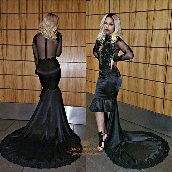 Black High Neck Sheer Long Sleeve Short Prom Dress With Long Train