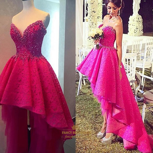 Hot Pink Strapless Short Lace Beaded Bodice High Low Formal Dress