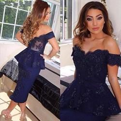 Navy Blue Off The Shoulder Lace Embellished Short Peplum Prom Dress