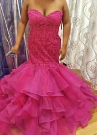 Hot Pink Strapless Lace Embellished Bodice Mermaid Evening Dress
