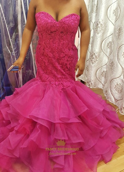 Hot Pink Strapless Lace Embellished Bodice Mermaid Evening Dress