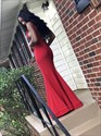Red Sleeveless Floor Length Mermaid Chiffon Evening Dress
