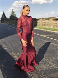 Burgundy Embellished High Neck Long Sleeve Mermaid Prom Dress