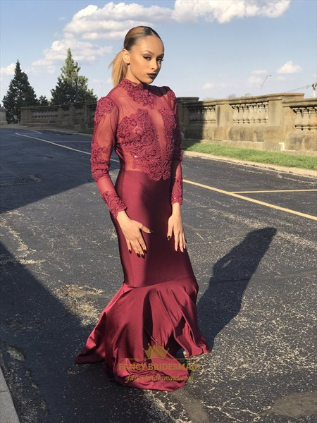 Burgundy Embellished High Neck Long Sleeve Mermaid Prom Dress