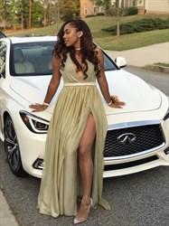 Champagne V-Neck Sleeveless Beaded Long Prom Dress With Slit