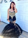 Black Strapless Lace Embellished Mermaid Long Evening Dress