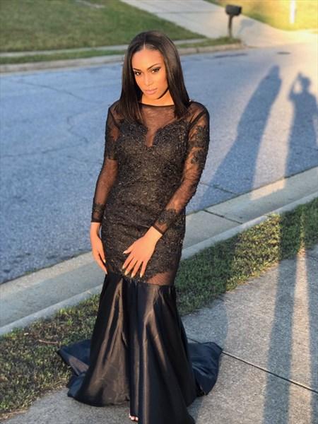 Black Sheer Embellished Long Sleeve Backless Mermaid Formal Dress