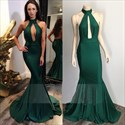 Emerald Green High Neck Backless Mermaid Prom Dress With Keyhole Front